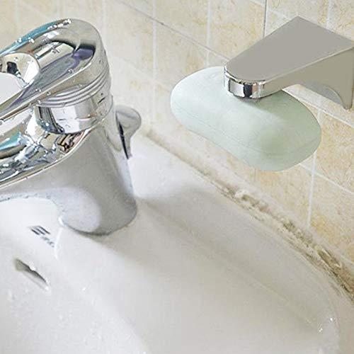 CamKpell Práctico Contenedor de jabón magnético de Acero Inoxidable Contenedor Cuarto de baño Accesorio de Pared Dispensador de jabonera - Plata