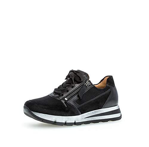 Gabor Damen Sneaker, Frauen Low-Top Sneaker,Comfort-Mehrweite,Reißverschluss,Optifit- Wechselfußbett, Strassenschuhe Freizeit,schwarz,38 EU / 5 UK