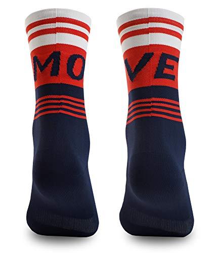 NORTEI Calcetines para Ciclismo, MTB y Running de Caña Alta para Hombre y Mujer – Move Red (S-M (38-42))