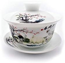 مجموعة فناجين شاي QMFIV، شاي صيني تقليدي أزرق وأبيض من البورسلين جيوان Kungfu مع غطاء وصحن - 180 مل، شفاف