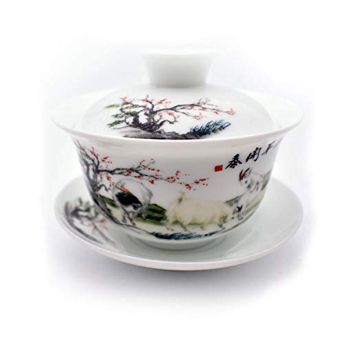 QMFIVE Teetassen-Set, chinesisches traditionelles Teegeschirr, blaues und weißes Porzellan, Gaiwan-Kungfu-Teeschale mit Deckel und Untertasse, 180 ml, verheißungsvoll