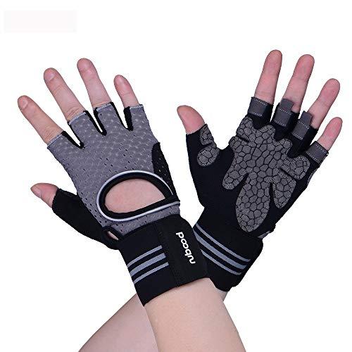 Belleashy Guantes de gimnasio para entrenamiento de gimnasio, guantes de deporte de medio dedo, para hombres y mujeres, culturismo, hombres y mujeres (color: gris, tamaño: M)