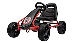Race in style with the Spike Go Kart! With a striking red finish, the compact steel frame incorporates a handbrake for the rear wheels to assist control: speed is provided by a chain drive with non slip pedals and a freewheel function. Go karting is ...