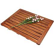 "Utoplike Teak Wood Bath Mat, Shower Mat Non Slip for Bathroom, Wooden Floor Mat Square Large for Spa Home or Outdoor (24""x18"")"