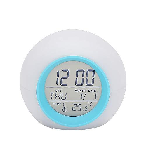 Galapara LED Wake up Wecker Multifunktions-LED-Tischwecker 7 Farbwechsel Digital Wake up Clock Touch Control Nachtlicht für Kinder mit Zeit- und Temperaturanzeige