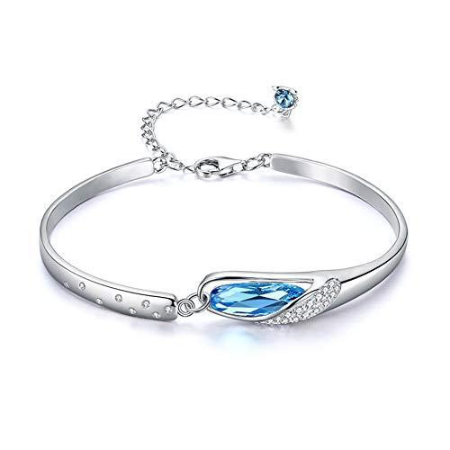 SA SILVERAGE Pulsera de plata de ley 925 con 12 constelaciones para mujer con circonita cúbica azul