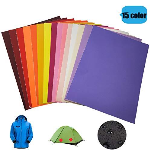 GloBal Mai Selbstklebende Patch-Sticker - Nylon Patch, 8/15/34 Farb-Anzüge, geeignet für Glatte Stoff Rucksäcke, Zelte, Regenschirme, Regenschirme und andere Nylon-Materialien. (15 Color)