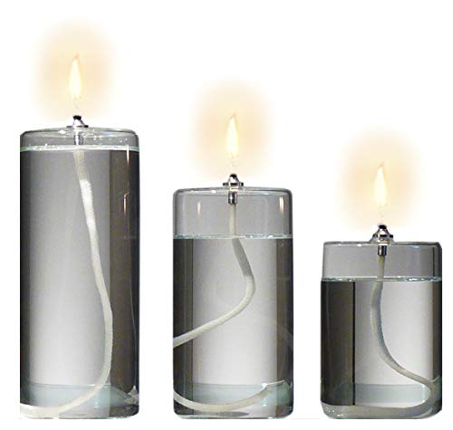 Refillable Glass Unscented Pillar Candle Gift Set of 3 - Use Alone, in a Candle Holder or Lantern - Oil Lamps Last a Lifetime and are a Unique Gift for Women