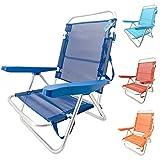 Silla Baja Plegable Evy Aluminio 80x62x50 cm. 4 Posiciones y 4 Colores (Azul Oscuro)