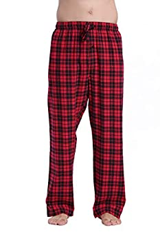 CYZ Men s 100% Cotton Super Soft Flannel Plaid Pajama Pants-BlackRedTartan-M