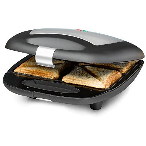 ROMMELSBACHER Sandwich Maker ST 1410 - für 4 Sandwiches, 2-Lagen Antihaftbeschichtung, schnelles Aufheizen, wärmeisolierter Handgriff, platzsparende Aufbewahrung, schwarz/Edelstahl