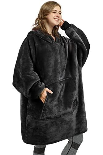 Kato Tirrinia Übergroße Sherpa Hoodie Sweatshirt Decke, Weiche Warme Riesen Hoodie Fronttasche Giant Plüsch Pullover Decke mit Kapuze for Erwachsene Männer Frauen Teenager-Studenten, one size, Schwarz