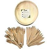Kit platos y cubiertos de hoja de palma desechables. 20 platos redondos Ø 19 cm (diámetro) + 20 tenedores + 20 cuchillos. Vajilla ecológica para eventos. Materiales naturales, sin químicos abrasivos.