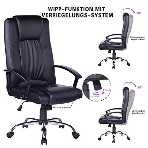 Bosmiller Bürostuhl Chefsessel Design PU Bürosessel Drehstuhl Computerstuhl Ergonomischer Sitzhöhenverstellung Office Stuhl mit Armlehne,Schwarz 0413