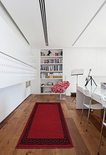 Lavabile in lavatrice chiave greco, triangolare, Diamond design Hall runner- stair runner–hallway-passage corridoio cucina antiscivolo tappeti tappeti (rosso nero, 80x 150cm (2''X5' 0))