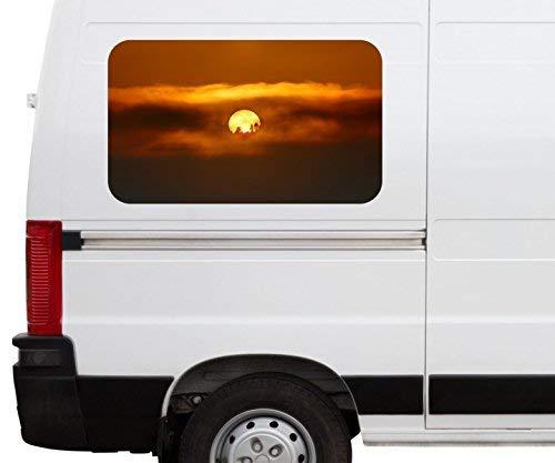 Autoaufkleber Sonne Afrika Wüste Mond Wolken Himmel Car Wohnmobil Auto tuning Digital Druck Fenster Sticker LKW Bild Aufkleber 21B1070, Größe 3D sticker:ca. 96x58cm