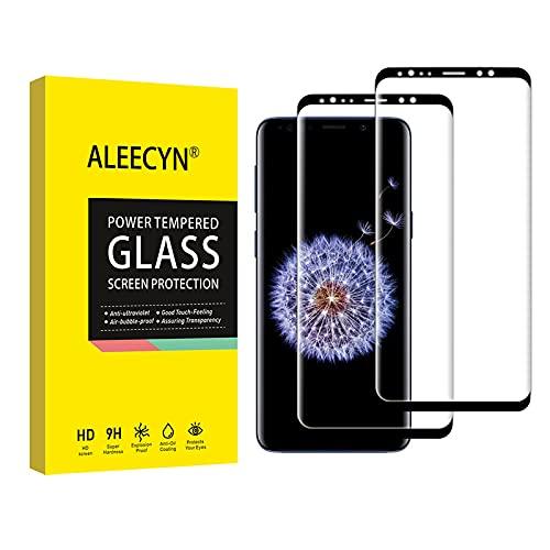 Aleecyn 2 Unidades Protector de Pantalla para Samsung Galaxy s9 plus, 3D Cobertura Completa, Anti Arañazos,Sin Burbujas,Vidrio Templado, Protector de Pantalla Samsung Galaxy s9 plus