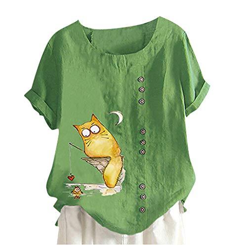 AOGOTO Leinen Oben Frauen Tasten O-Ausschnitt Bluse Kurz Ärmel Bluse Blumen Drucken Tasten Baumwolle Jahrgang Hemd