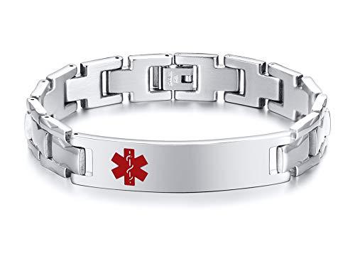 PJ JEWELLERY Benutzerdefinierte Gravur männer Medical Alert Armbänder Edelstahl Notfall SOS Erste-Hilfe-ID Armband für Männer Papa, 8,2