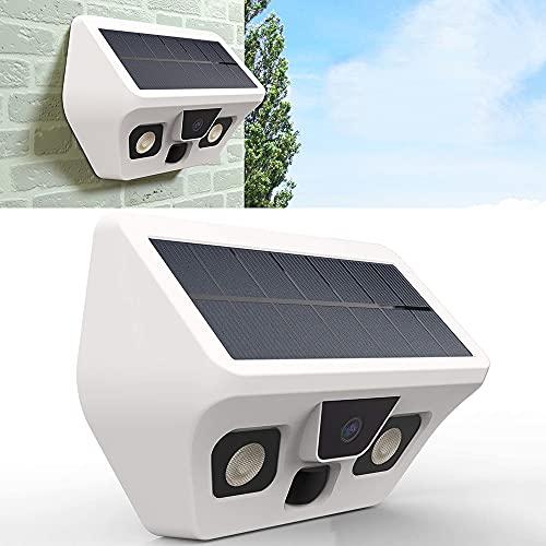 Braveking1 Cámara Externa con Panel Solar, Full HD Cámara IP para el Hogar con Detección de Movimiento PIR, Visión Nocturna, Gran Angular de 130°, IP56 Impermeable, Admite Tarjeta SD de hasta 512 GB
