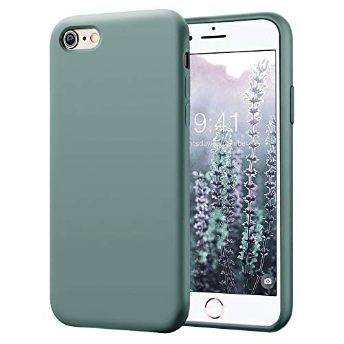 KUMEEK iPhone 6s Plus Case/iPhone 6 Plus Case, Anti-Slip Liquid Silicone Gel Rubber with Soft Microfiber Cushion Shockproof Drop Protective Case Cover for iPhone 6s Plus/6 Plus - Pine Green