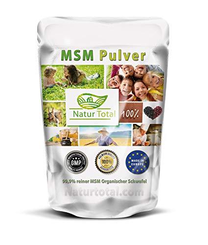 Natur Total MSM Pulver 1000g Schwefelpulver - 99,9% reines MSM Nahrungsergänzung MSM (Methylsulfonylmethan) Laborgeprüft ohne Zusatzstoffe - Vegan - Glutenfrei