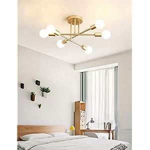 Dellemade Modern Sputnik Chandelier, 6-Light Ceiling Light for Bedroom,Dining Room,Kitchen,Office (Gold)