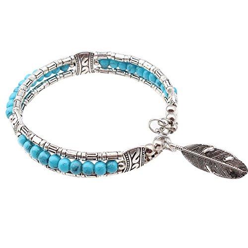pu ran - Braccialetto da donna etnico tibetano con piume turchesi, idea regalo e Lega, colore: Blu, cod. 2632