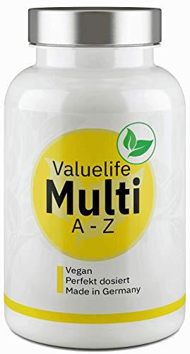 Das 100% Multi-Vitamin I 25 Vitamine A-Z, Spurenelemente & Mineralstoffe + natürliche Citrusbioflavonoide I Multivitamin & Multimineral Kapseln von Valuelife