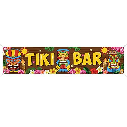 Tiki Banner Happy Luau Decoración de fiesta, Tiki Totem Tiki Bar Aloha escenarios para decoraciones de hibisco, carnaval, hawaiano, banner de madera, 15.7 x 72 pulgadas