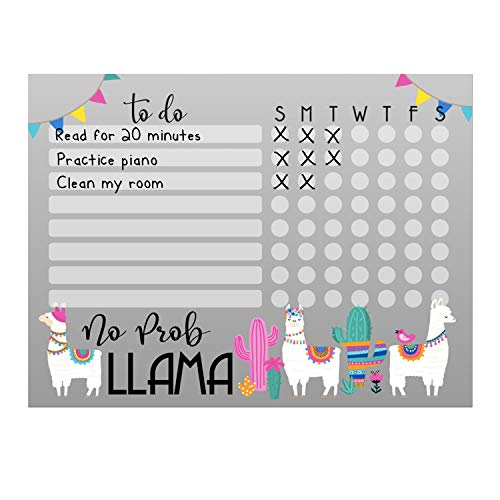"Kid's Dry Erase Whiteboard Chore Chart | Removeable and Restickable Adhesive Decal | Fine-Tip Magnetic Marker Included | 9"" x 12"" (Llama)"