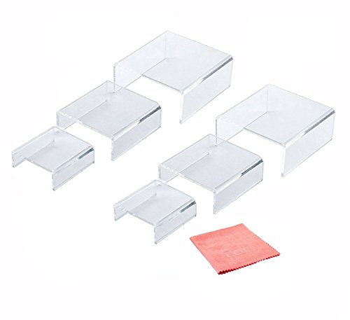 Combination of Life Low Profile Nesting Clear Acrylic Risers for Displays Set of 6 (2 Sets of 3)