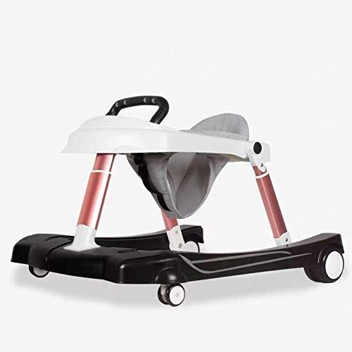 Yyqtyec Lauflernhilfe, Anti-Typ-Bein-Rollwagen Kindermultifunktions-U-förmiges Fahrgestell Einstellbar Faltbar 6/7-18 Monate Männlich Baby Mädchen Baby (Color : Black)
