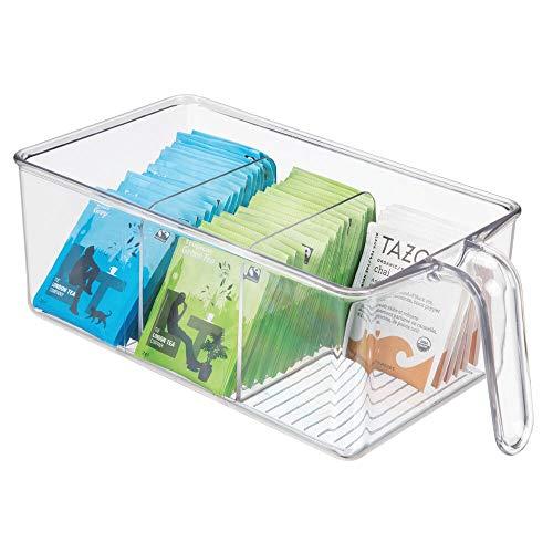 mDesign boite de rangement à 3 compartiments – boite pour frigo idéale pour la cuisine, le placard ou le frigo – bac alimentaire en plastique avec large ouverture et poignée intégrée – transparent