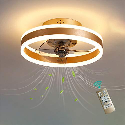 YAOXI - Ventilador de techo LED moderno con mando a distancia, silencioso, ventilador de dormitorio, techo con luz de salón, regulable, 36 W, lámpara de techo, color dorado