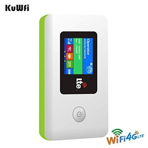 KuWFi 4G LTE 100 Mbps Mobile WiFi Hotspot Pocket Sblocco Wireless Notebook Mini Modem Wi-Fi mit SIM Slot Nicht enthalten FDD B1 / B3 / B7 / B8 / B20