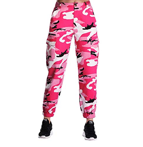 ZODLLS Women's Camo Pants Cargo Trousers Cool Camouflage Pants Elastic Waist Casual Multi Outdoor Jogger Pants with Pocket(Hot Pink,Large)