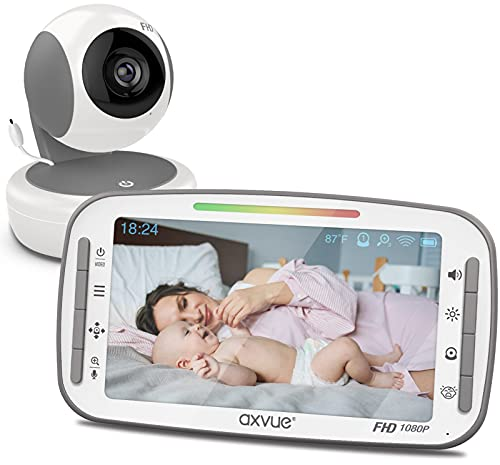 Video Baby Monitor, 1080P 5.5' FHD Display, IPS Screen, 1080P HD Cam, 24-Hour Battery Life, 1000ft Range, 2-Way Communication, Secure Privacy Wireless Technology