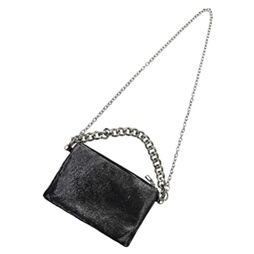 VALICLUD Women Shoulder Handbags Glitter Sequin Chain Bag Vintage Cross Body Bag Casual Hobo Bags Messenger Bag Purse Wallet for Work School Travel Silver