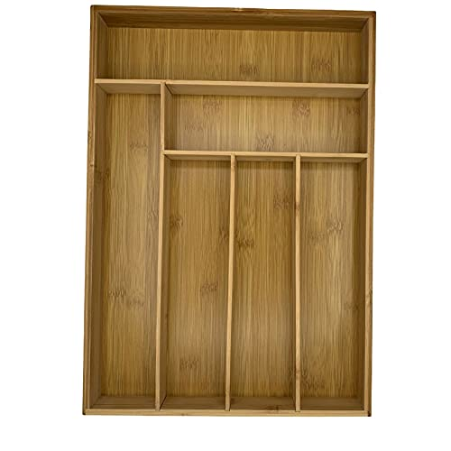 Cubertero Madera de Bambú, Organizador/Separador de Cubiertos de Cocina para cajones 43x30.5x5 cm.