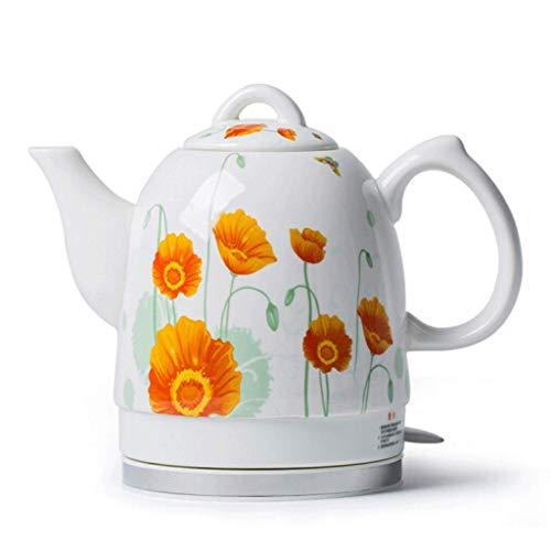 Unknow Tetera eléctrica de cerámica Tetera de Agua inalámbrica 1.5Liter Apagado automático Flor de Sol de ebullición rápida