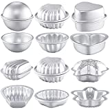 12 Pieces Metal Bath Bomb Molds Bath Ball Molds for Crafts DIY Bath Bomb Crafting Mould for Handmade Soaps Candle Cake Ice Cream Baking Handicrafts Making Supplies, 6 Shapes