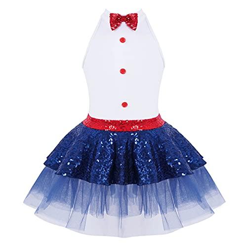 inlzdz Maillot de Danza Ballet Niña Vestido de Baile Gimnasia Jazz Brillante Disfraces de Patinaje Artístico Body Leotardo Ropa Bailarina 4-12 Años Blanco 12 años