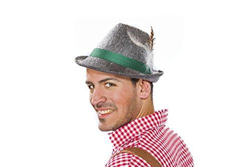 Herren Trachtenhut grau mit Feder Sepplhut Oktoberfest Hut Bayern Karneval