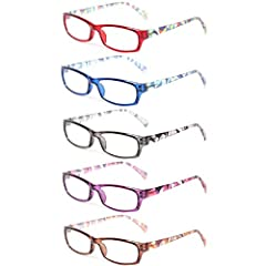 Kerecsen 5 Pack Spring Hinge Frame Readers Reading Glasses for Men and Women Value pack of 5 Women' Readers for the great price of 1! Great for home, office, or bedside use. Keep a pair at your desk, in your bag, and in your favorite reading spots. L...