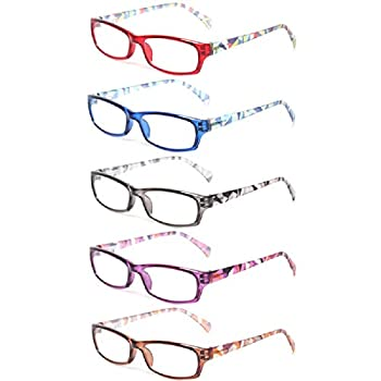 Reading Glasses 5 Pairs Fashion Ladies Readers Spring Hinge with Pattern Print Eyeglasses for Women  5 Pack Mix Color 0.75