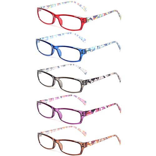 Reading Glasses 5 Pairs Fashion Ladies Readers Spring Hinge with Pattern Print Eyeglasses for Women (5 Pack Mix Color, 2.75)