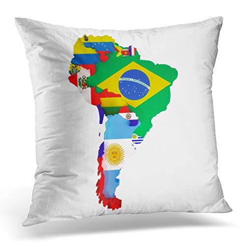 Topyee Kissenbezug, bunt, Lateinische Südamerika-Karte Länder und Hauptstädte, 45 x 45 cm, Heimdekoration, quadratischer Kissenbezug für Bett Sofa