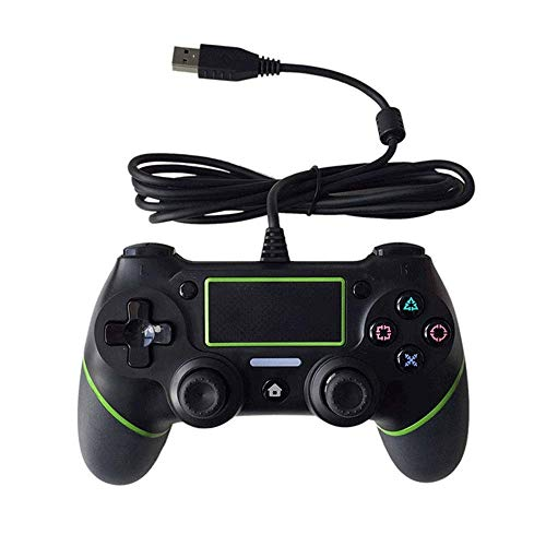 Aiyoudemutou Gamepad PS4 Controlador con Cable Estable Sistema de Control de Juegos de artefactos auxiliares portátiles de Calidad Estable Controlador Gamepad (Color : Green)