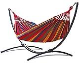 Potenza Hamac avec Support en Acier pour 1 Personne Démontable - Charge Max 120 kg – Les Hamacs Coton 1 Place XL - Lit en métal Suspendu Portable - Idéal Jardin - Support Graphite Un Hamac Rouge